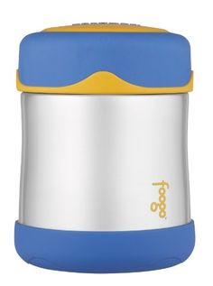 Great THERMOS FOOGO Vacuum Insulated Stainless Steel 10-Ounce Food Jar, Blue/Yellow, ,