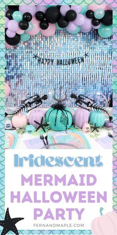 Create a unique under-the-sea theme with this non-traditional pastel Mermaid Themed Halloween Party with amazing Iridescent Backdrop! Get the details on the backdrop, place settings, favors and more now at fernandmaple.com!