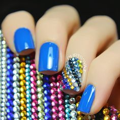 Nail art using rhinestones.