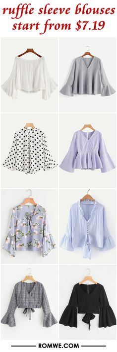 ruffle sleeve blouses from $7.19