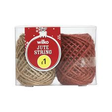 Wilko Christmas Jute String Red and Natural 2 x 20m Festive Forest