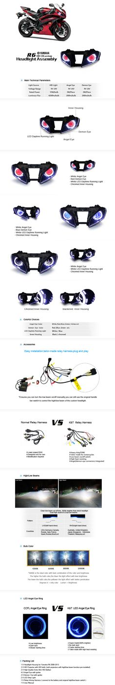Yamaha R6 HID Projectors Headlight Assembly 2008-2013