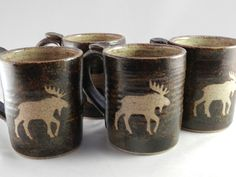 Peasley Pottery Moose Mugs