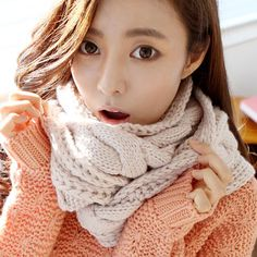 Cheap Korean Style Solid Beige Woolen Knitting Scarf