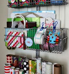 A Space-Saving Gift Wrap Station I Heart Organizing---I could easily do this idea for my papers and things for graphic design orders and my wedding runners