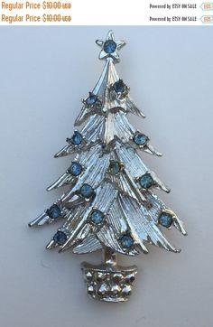 ON SALE Brooch Christmas Tree Rhinestone Windswept Tree Icy Blue Rhinestones