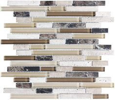 Bliss Cappucino Stone and Glass Linear Mosaic Tiles