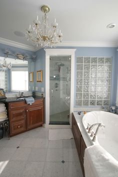 Large master bathroom with custom shower and vanity.
