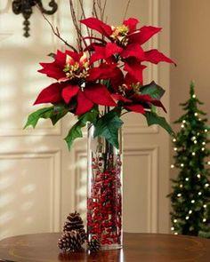 Decoración Navideña con flores de Noche buena - Dale Detalles