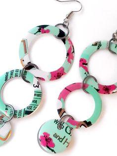 Recycled Soda Can Earrings Women Jewelry by AbsoluteJewelry, $12.00