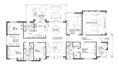 4 bedroom family home with a study, activity room, scullery and an awesome alfresco area. Sims House Plans, Dream House Plans, House Floor Plans, My Dream Home, Dream Houses, Building A New Home, Building Plans, Grand Designs Houses, U Shaped Houses