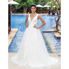 Lanting+Bride+A-line+/+Princess+Plus+Sizes+/+Petite+Wedding+Dress-Court+Train+V-neck+–+USD+$+169.99