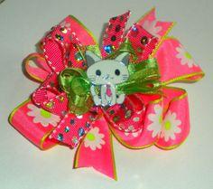 Kitty Hair Bow  OOAK  Girls Hair Bow  Pink by BertasBeesandBows.etsy.com, $7.00