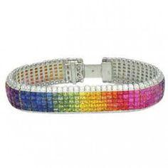 Multicolor Rainbow Sapphire & Diamond Invisible by RainbowSapphire, $18,025.00