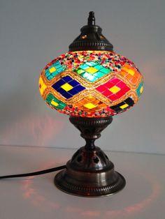 Turkish mosaic lamp with Kilim Design and vintage look metal base  sophiesbazaar.com