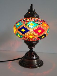 Turkish mosaic lamp with Kilim Design and vintage look metal base  sophiesbazaar.com