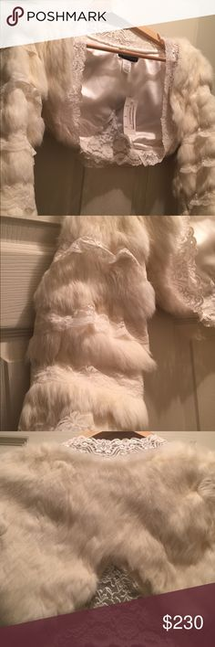 Ivory fur and lace shrug Sexy fur and lace shrug!!!! Ivory/Off white 3/4 sleeve Jackets & Coats
