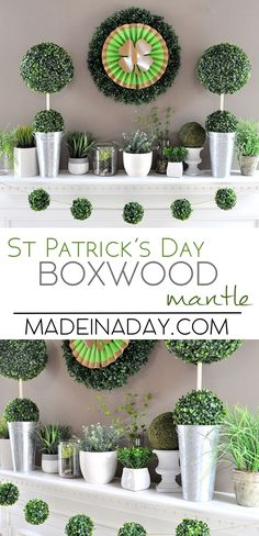 Boxwood Topiaries Garland St Patricks Day Mantle | Made in a Day