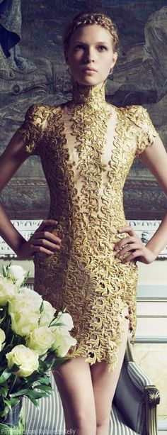 The world of Miss Millionairess:  Alexandre Vauthier Haute Couture gold lace cocktail dress