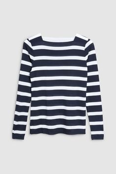 5768a14bb9ab6 Womens Next Navy Long Sleeve Stripe Top - Blue