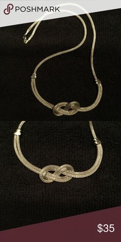 "Sterling Silver Necklace Sterling Silver  Knot Necklace , 8.5"", stamped 925 Jewelry Necklaces"