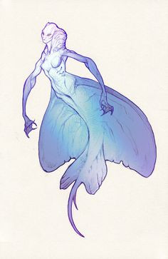 Stingray mermaid by Ket-DawnAtSunset on DeviantArt Weird Creatures, Fantasy Creatures, Mythical Creatures, Siren Creature, Creature Design, Mermaid Drawings, Mermaid Art, Character Concept, Character Art