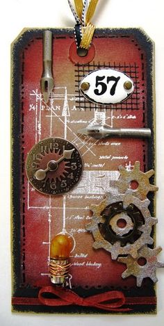 Kraft Tag, tim holtz gears , altered