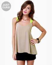 LULUS Exclusive Pop and Lock Neon Yellow and Taupe Tank Top