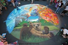 "Artists: Sharyn Namnath, Amy Gallaher, David ""Two Hawk"" Glazier, Mark Cummings, Photo by Joy Phoenix.  Youth in Arts Italian Street Painting Festival San Rafael, California 2010"