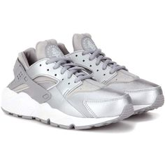 Nike Air Huarache Run Sneakers ($94) ❤ liked on Polyvore featuring shoes, silver, nike shoes, nike, nike footwear and silver shoes