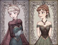 Anna et Elsa Disney Nerd, Disney Fan Art, Cute Disney, Walt Disney, Disney Princesses And Princes, Disney Princess Frozen, Frozen Drawings, Disney Drawings, Cartoon Network