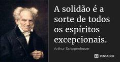 A solidão é a sorte de todos os espíritos excepcionais. — Arthur Schopenhauer