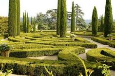 Chateau de Sannes Maze Garden  ~ Really like the use of the tall Conifers!