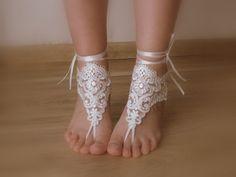 bridal anklet, ivory Beach wedding barefoot sandals, bangle, wedding anklet, free ship, anklet, bridal, wedding