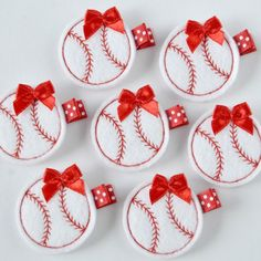 Red and White Baseball Felt Hair Clip - Sports Felt Clippies - Perfect for your little t ball player