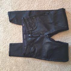 Vigoss black pleather skinny jeans Never worn!! Vigoss Jeans Skinny