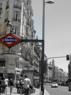 Gran Vía - Madrid Times Square, Madrid, My Photos, Black And White, Travel, Blanco Y Negro, Viajes, Black White, Black N White