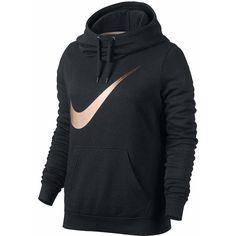 Nike Long Sleeve Cotton Blend Hoodie ($55) ❤ liked on Polyvore featuring tops, hoodies, long sleeve hoodie, nike hoodie, nike top, hooded pullover and nike hoodies