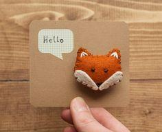 Friendly Fox Brooch Handmade Felt Fox Pin Hand by builtonbranches Fabric Brooch, Felt Brooch, Felt Fabric, Fabric Crafts, Sewing Crafts, Sewing Projects, Brooches Handmade, Handmade Felt, Etsy Handmade