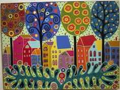 karla gerard art: July 2009 - 10 Houses, 4 Trees & Fronds Painting