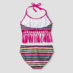 Girls' Bikini Tribal Print With Fringe Cat & Jack - Pink XL, Girl's, Multicolored