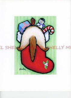 "Art by Shelly Mundel. Ferret People  "" Stocking Stuffer"" 5x7 inch Canvas Cloth! #OutsiderArt"