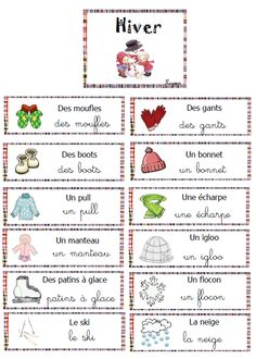vocabulaire mur de mots hiver Educational Activities For Preschoolers, Vocabulary Activities, Preschool Themes, Kindergarten Activities, French Teaching Resources, Teaching French, French Worksheets, Worksheets For Kids, Art Therapy Children