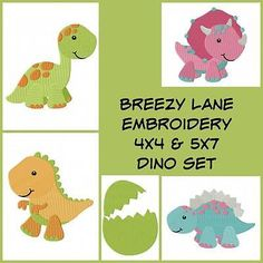 Dinosaur Machine Embroidery Design Set 4X4 and 5X7 on CD