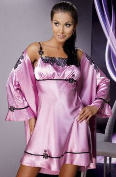 Irall Mirabelle Dusty Rose   Black Night Dress Satin Dressing Gown 9c40f8ccd