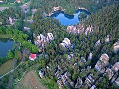 Zatopená bývalá pískovna Adršpach - letecký pohled Czech Republic, Countries, River, Outdoor, Outdoors, Outdoor Games, The Great Outdoors, Bohemia, Rivers