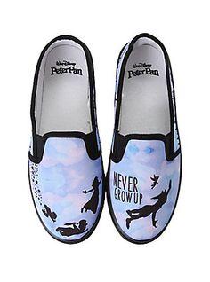 Disney Peter Pan Never Grow Up Slip-On Shoes, BLACK, hi-res