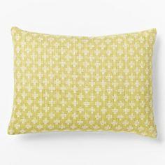 Jacquard Leaf Pillow Cover, Leek