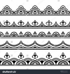 Set of seamless borders for design, application of henna, Mehndi and tattoo. Decorative pattern in ethnic oriental style. Set of seamless borders for design, application of henna, Mehndi and tattoo. Decorative pattern in ethnic oriental style. Henna Tattoo Muster, Tattoo Henna, Muster Tattoos, Henna Tattoo Designs, Henna Art, Mandala Tattoo, Mehndi Designs, Hand Henna, Henna Mehndi