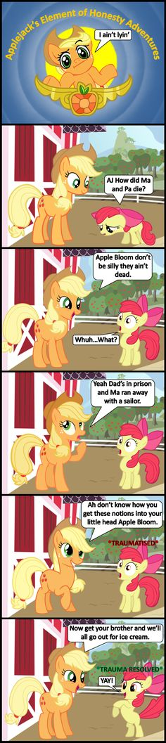 Let this be a lesson to all you new age hippie parents…Just by them some Ice cream and they'll clam up Panel 1 Applejack by Applejack's Element of Honesty Adventures All My Little Pony, My Little Pony Friendship, Mlp Twilight, Pocket Princesses, Mlp Comics, Pony Drawing, Your Brother, Little Sisters, Nerd